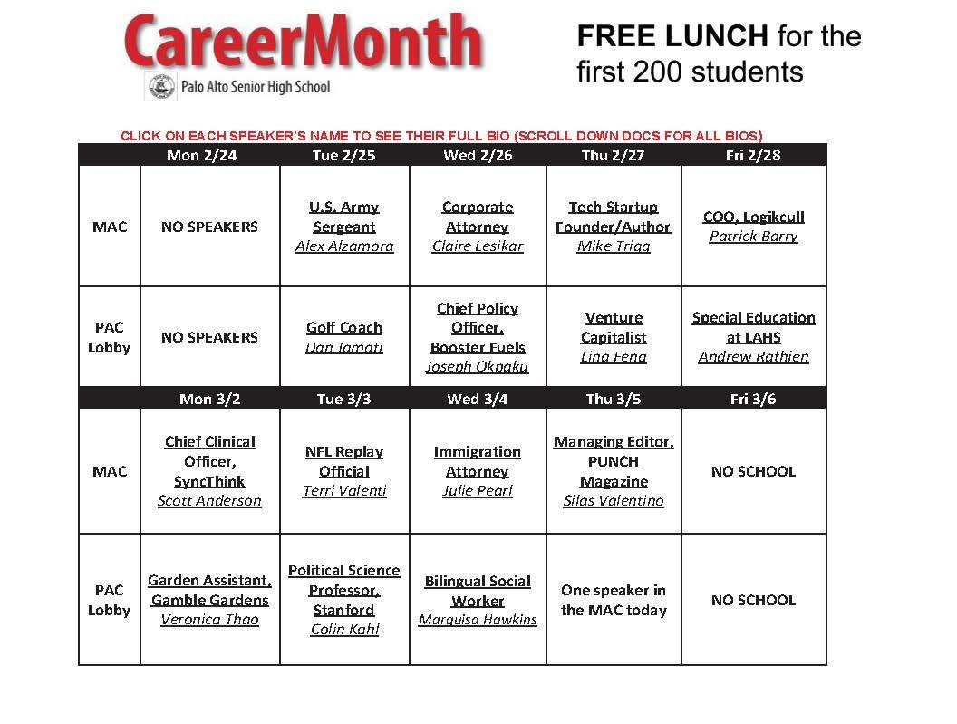 Paly Career Month 2020 Calendar