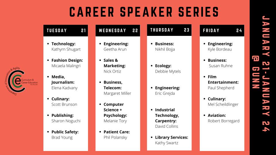 Schedule 2020 Gunn Career Speaker Series